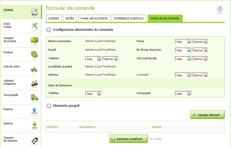 Configurarea formularului de comanda